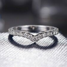 2 mm Diamond V Shaped Diamond Wedding Anniversary Band Ring 14k White Gold GP