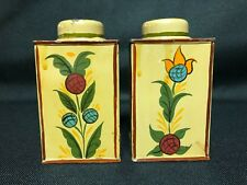 Vintage Tin Hand Painted 2 Small Canisters Yellow Gold w/Unique Flowers