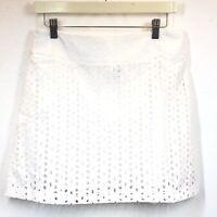 Maison Jules Womens Skirt Mini Skirt White Eyelet Lined Back Zip Cotton Sz 6