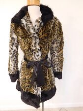 Stunning Animal Print Faux Fur Belted Coat by Wet Seal - New - Sz S