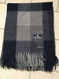 House Of Balmoral Wool Rug Blanket Navy Blue Grey Check Block Throw Warm Rug