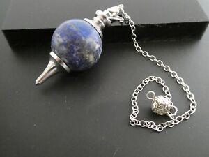 "Vintage 22mm Round Lapis Lazuli  Gemstone SP Filigree Chain 9"" Pendant PENDULUM"
