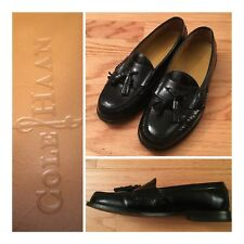 Cole Haan Mens 8 Pinch Shaw Tassel Loafers Slip-On Shoes Black Leather