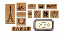 Cavallini PARIS Assorted Wooden Rubber Stamps with Black Ink Pad in Tin