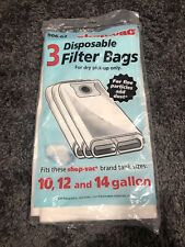 Shop Vac Disposable Filter Bags X3 906-62 Sealed