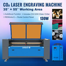 130w 55x35in Co2 Laser Cutting Engraving Machine Engraver Cutter W Water Chiller