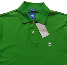 Men's G-STAR / G RAW Green Logo Cotton + Pique Polo Shirt Large L NWT NEW