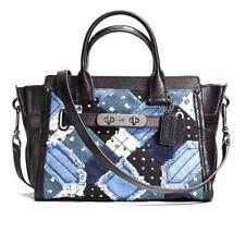 NWT Coach 38075 Swagger 27 Carryall Patchwork Denim Leather Satchel Handbag $550