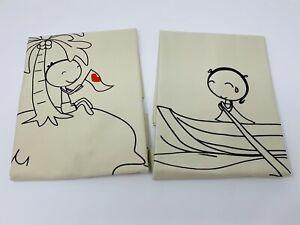 "Couple Pillowcase, Set of 2, Love Island, Khaki, 29""x 20"", His and Hers"