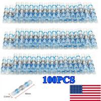 100PCS Solder Sleeve Heat Shrink Butt Wire Splice Connector Waterproof AWG 16-14