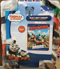 "Thomas The Tank Engine &Friends Train Plush Minky Throw-Explore More-40""x50""-Ne w"