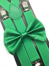 Green Suspender and BowTie Set Wedding Formal Tuxedo Adults Men Women (USA)