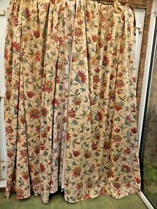 Antique Linen block printed curtains 19th c Jacobean Design ex Devon Manor House