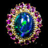 Super Top AAA 10ct+ Natural Black Opal 925 Sterling Silver Ring Size 8.5/R114459