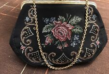 "Vintage Floral Needle Point Purse 7.5""x 5"" Gold Hardware Broken Clasp Sold AS IS"