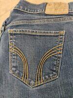 Hollister Jeans juniors size 7L blue denim straight 5 pockets stretch zip up EUC