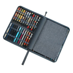 48 Slots Fountain Pen Case, Gray Canvas Pen Holder Display Pouch Bag Waterproof