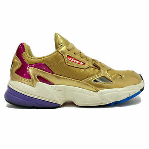 adidas Falcon Women's Size 7.5 Retro Sneaker Gold Metallic Patent Leather CG6247