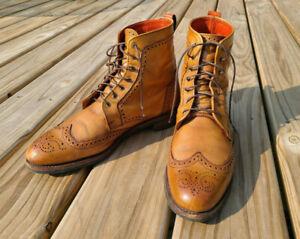 Allen Edmonds Dalton Wingtip Dress Boots - Size 11 B - Walnut - Dainite Sole