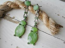 SILVER TONE GREEN OVAL ACRYLIC BEAD AND GREEN CRYSTAL DANGLING EARRINGS