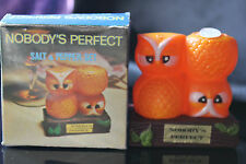 PLASTIC OWL SALT & PEPPER SHAKERS NOBODY'S PERFECT WITH BOX HONG KONG