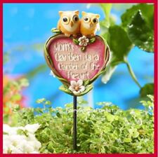 Miniature Fairy Mom's Garden is a Garden of the Heart Sign on Pick with Owls 303