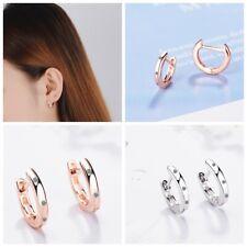 Shiny 925 Silver/ Rose Gold Plated Cubic Zirconia Huggie Hoop Earrings Gift UK