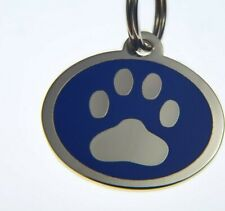 Engraved Durable Stainless Steel ID tag PAW PRINT design in 2 sizes 6 COLOURS