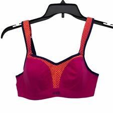 Panache Womens Sports Bras Pink Orange Color Block Stretch Hook And Eye 34C