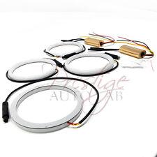 4x 80mm Cotton LED Angel Eye Halo SWITCHBACK Light Ring SMD lamp DRL-White Xenon