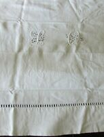 Antique French Handmade Rembourre Raised Silk Stitched Monogram on Linen LQ