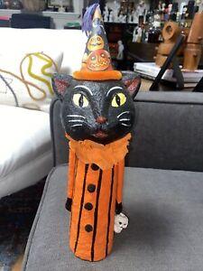 "Halloween Vintage Style 14"" Black Cat With Hat Figurine"