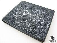 PELGIO Genuine Polished Stingray Skin Leather Soft Bifold Men's Wallet Black