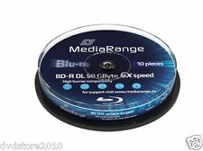 10 MediaRange BD-R DL 50GB 6x BluRay blu ray MR507 vergini Cake box da 10 pezzi