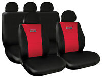 Sumex Universal 11pc Padded Foam Protect Car Seat Covers Full Set - Black & Red