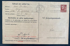 1944 Drammen Norway Postal Stationery Parcel Receipt Card cover To Lier