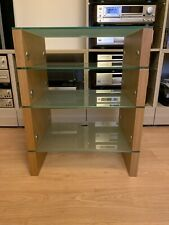 hifi stand Solid Oak Wood And Glass