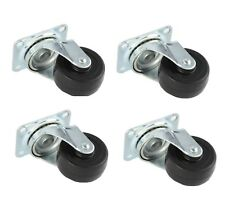 """4 Pack 2"""" Swivel Caster Wheels Hard Rubber Base with Top Plate & Bearing"""