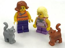 LEGO 2 NEW MINIFIGURES MOM MOTHER AND DAUGHTER WITH 2 CATS FIGS