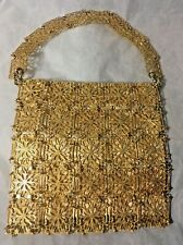 Vintage Hand Bag Gold Tone Linked Metal Fully Lined Beautiful!