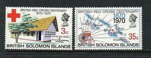 BRITISH SOLOMON ISLANDS 1970 SG197-98 CENTENARY OF BRITISH RED CROSS  -  MNH