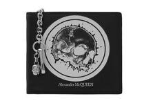 $495 Alexander McQueen Black Leather Chain Wallet Skull Graphic Mens New