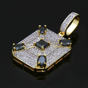 14K Gold Plated  CZ Dog Tag Style with Black CZ Hip Hop Pendant with Free Chain