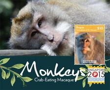 BEQUIA 2015 - SINGAPORE STAMP EXPO: MONKEYS - STAMP SOUVENIR SHEET MNH