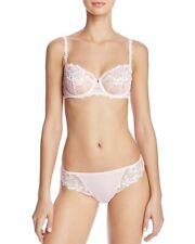 Simone Perele Set Unlined Demi Bra 34 DD & Tanga Panty Sz L Amour Lace In Blush