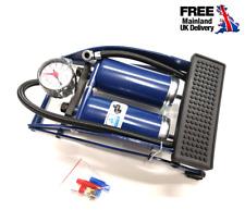 Double Barrel Tyre Foot Pump Air Inflator Car Van Bicycle Bike with Adaptors