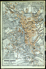 BADEN-BADEN, alter farbiger Stadtplan, datiert 1913