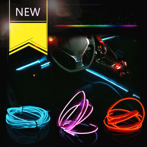 LED Car Interior Atmosphere Glow EL Wire Neon String Strip Light Decor Lamp ahh