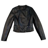 ZARA Womens Biker Jacket XS Black Faux Leather Full Zip