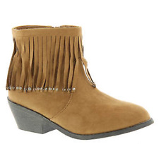 NIB Kids Volatile FLUFFY Tan  FRINGE / RHINESTONE Ankle Boots Booties Girls 1 M